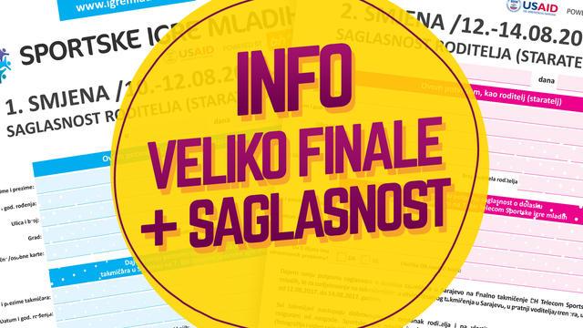 Informacije o finalnom takmičenju i saglasnost roditelja/staratelja - Sarajevo 10.08.-14.08.2017.